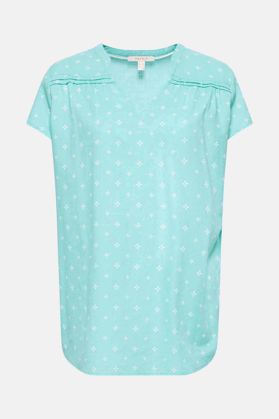Blouse top with a beautiful neckline, 100% cotton, TURQUOISE, detail image number 6