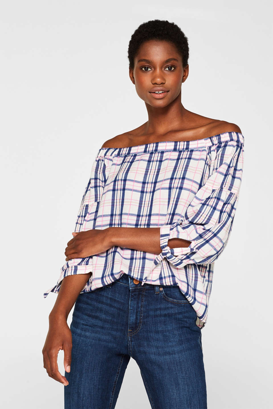 Esprit - Off-the-shoulder blouse with balloon sleeves