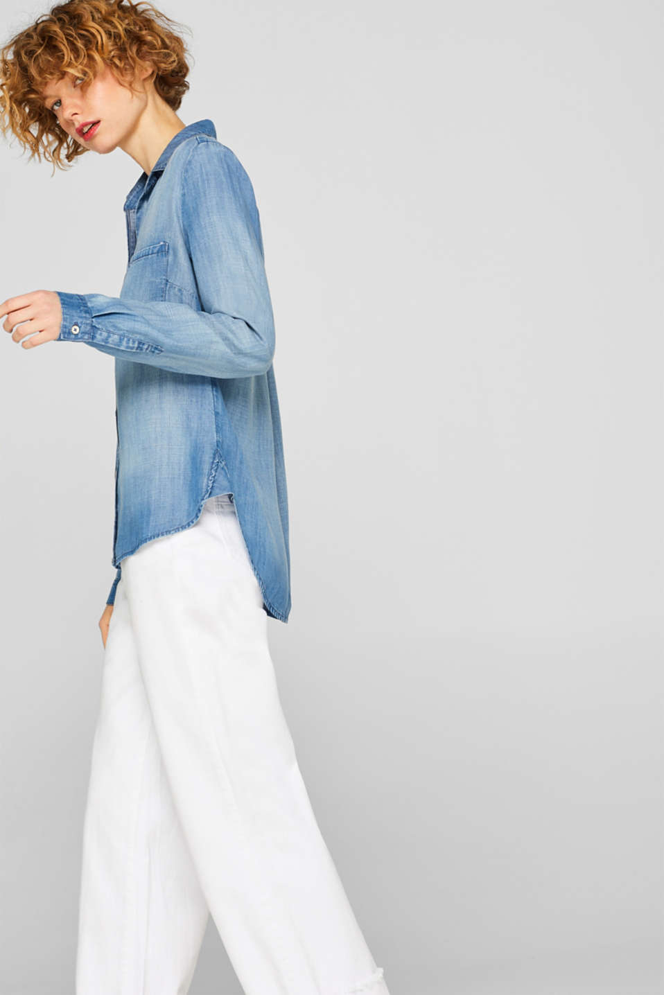 Esprit - Denim blouse made of lightweight lyocell