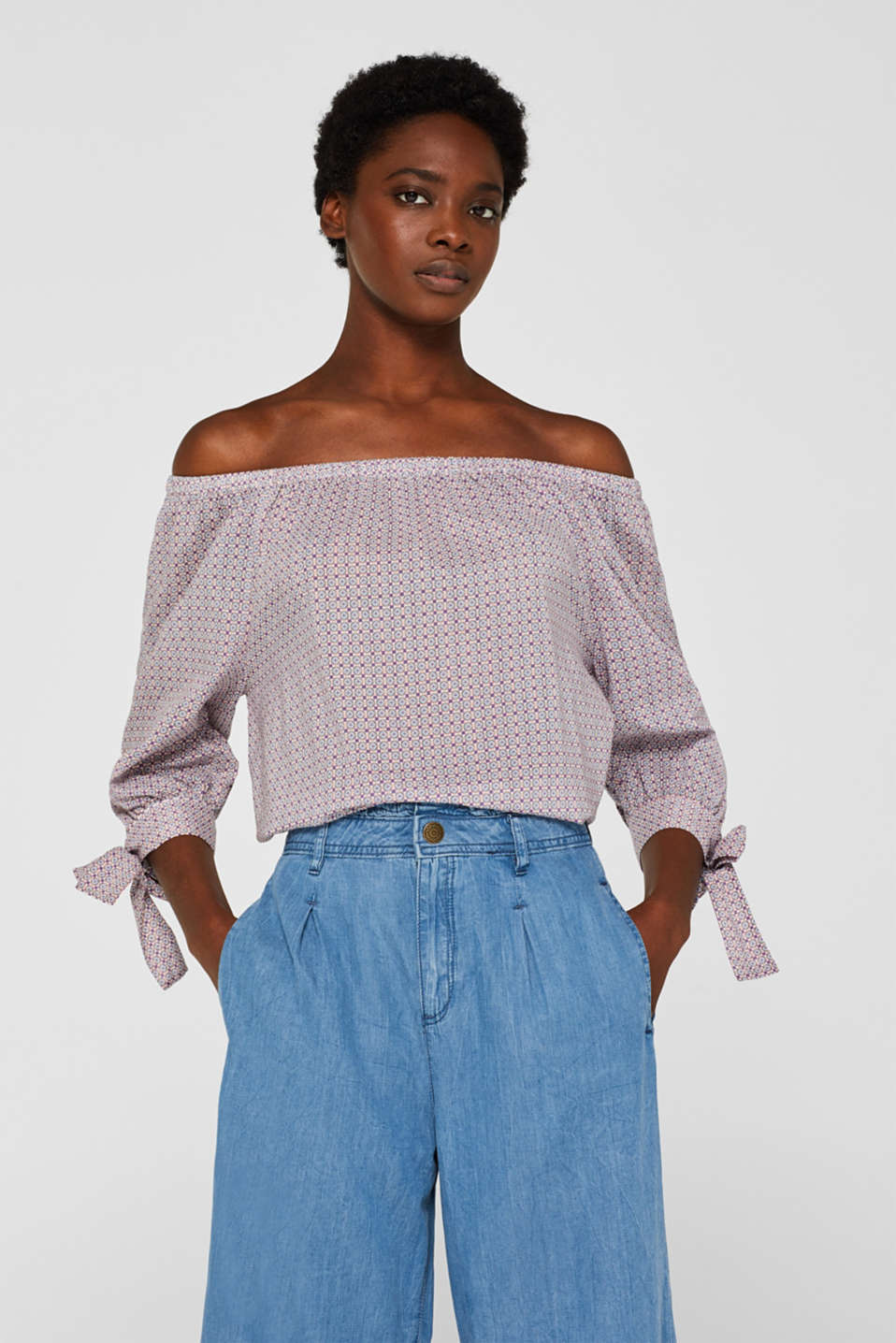 Off-the-shoulder blouse with bows, 100% cotton