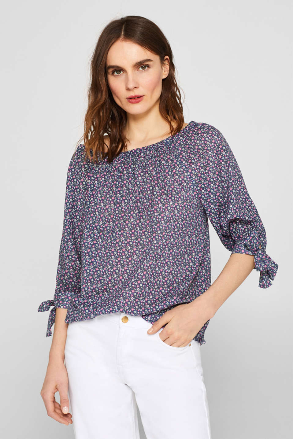 Esprit - Off-the-shoulder blouse met strikken, 100% katoen
