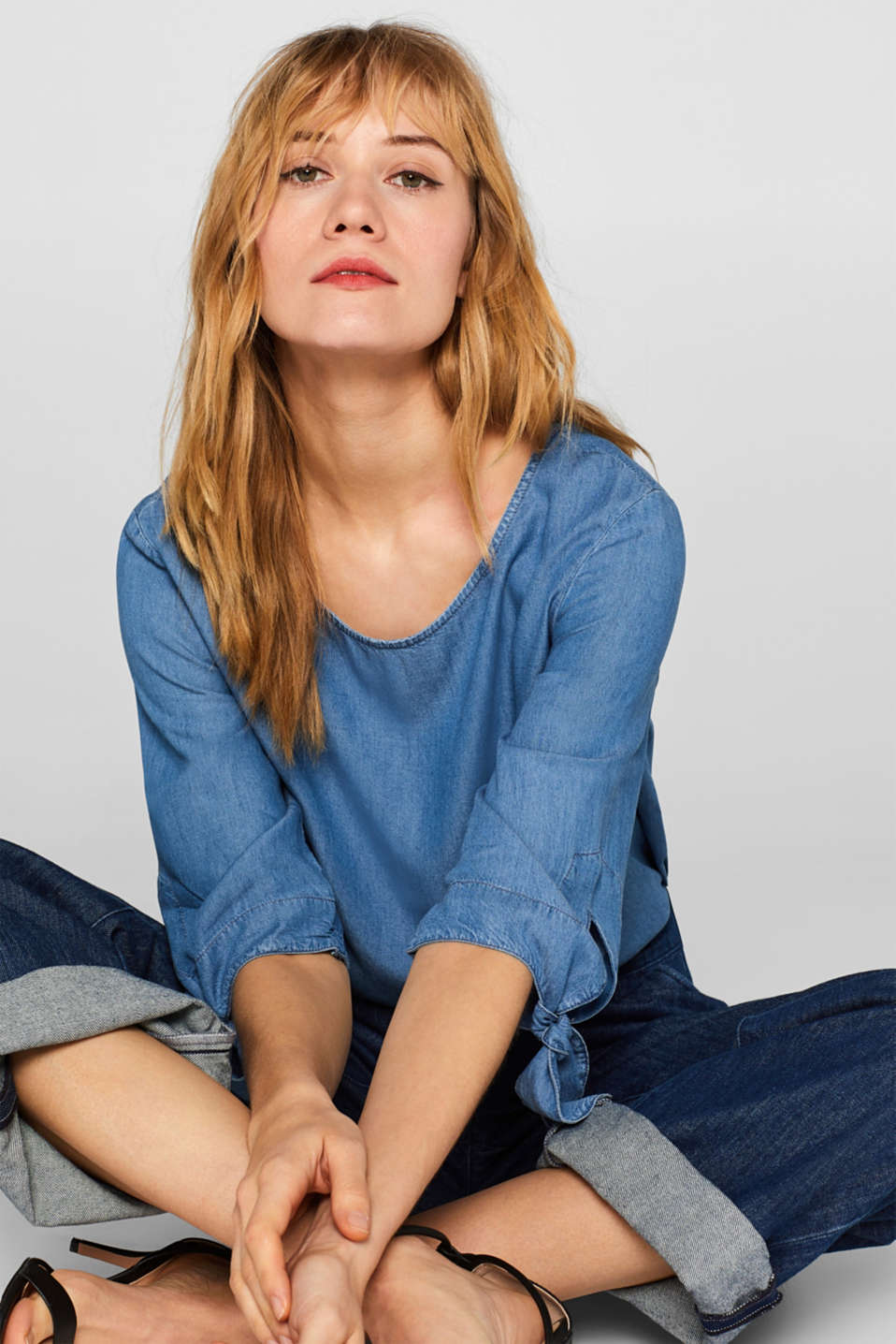 Esprit - Bluse in Denim-Optik aus Lyocell-Mix