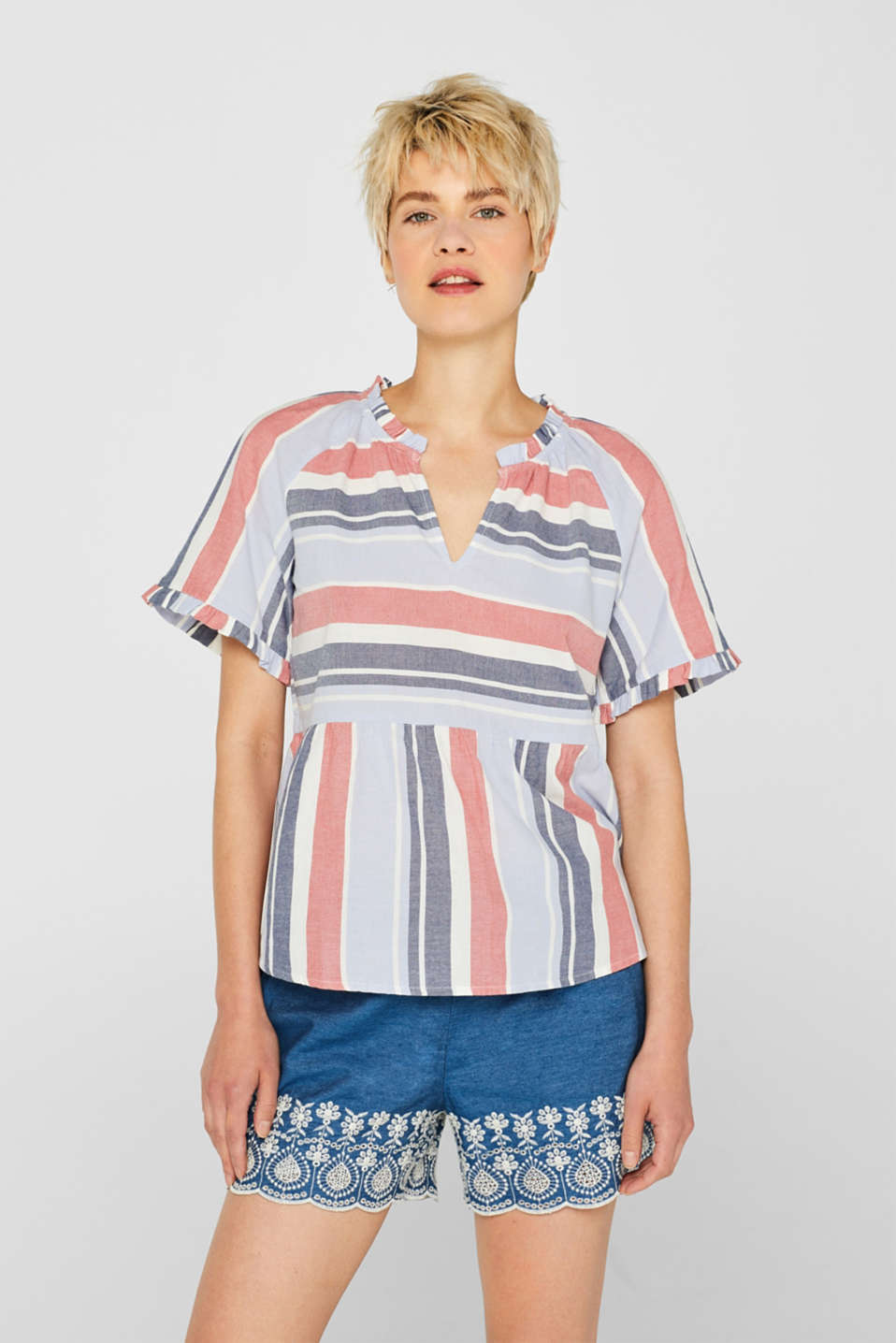 Esprit - Striped blouse with a peplum, 100% cotton