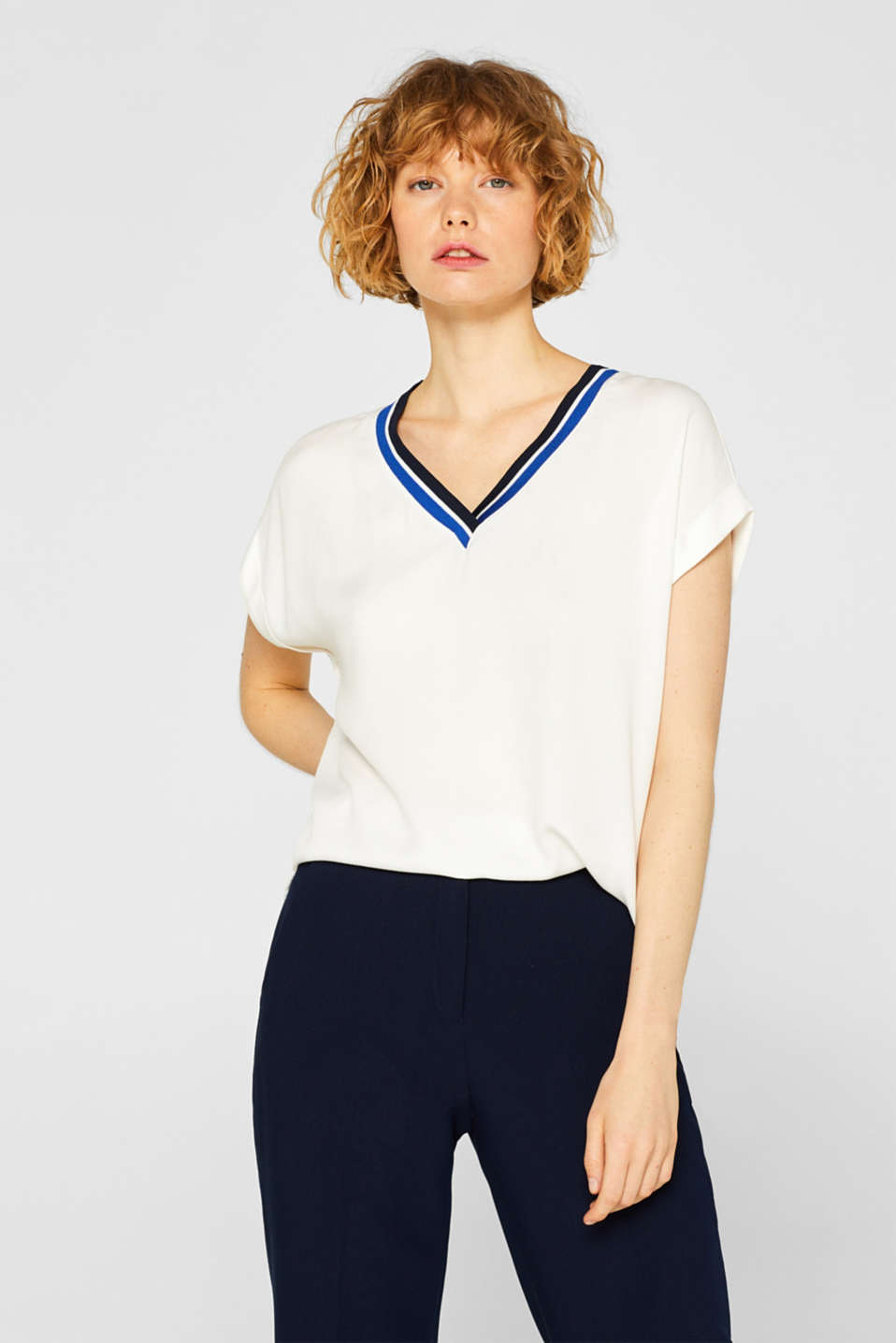 Esprit - Blouse top with a striped neckline trim
