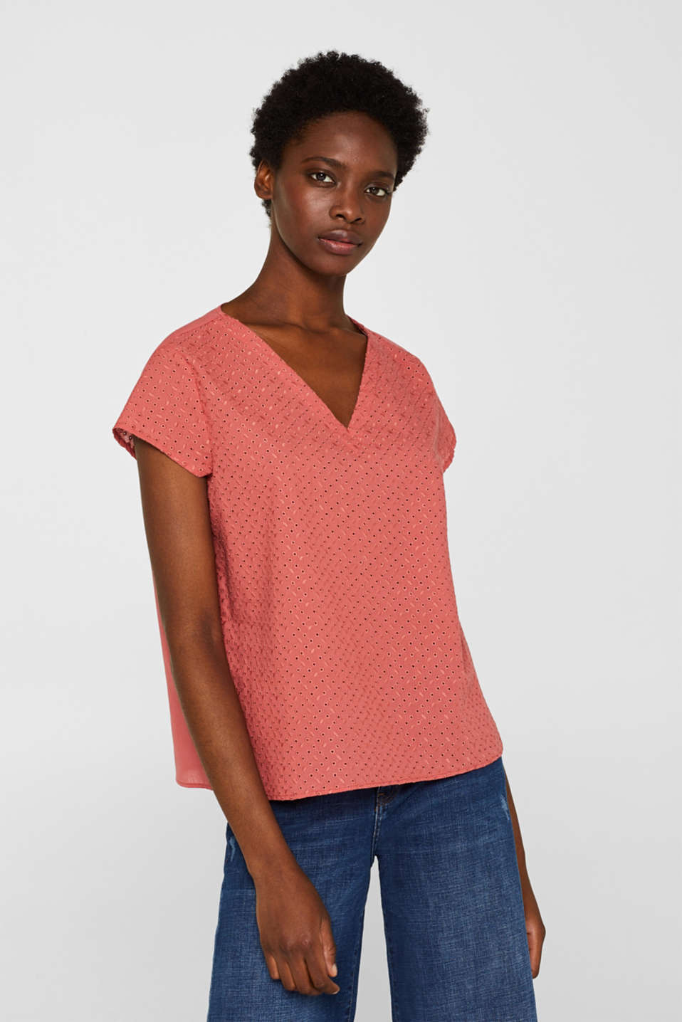 Esprit - Material mix blouse top with broderie anglaise