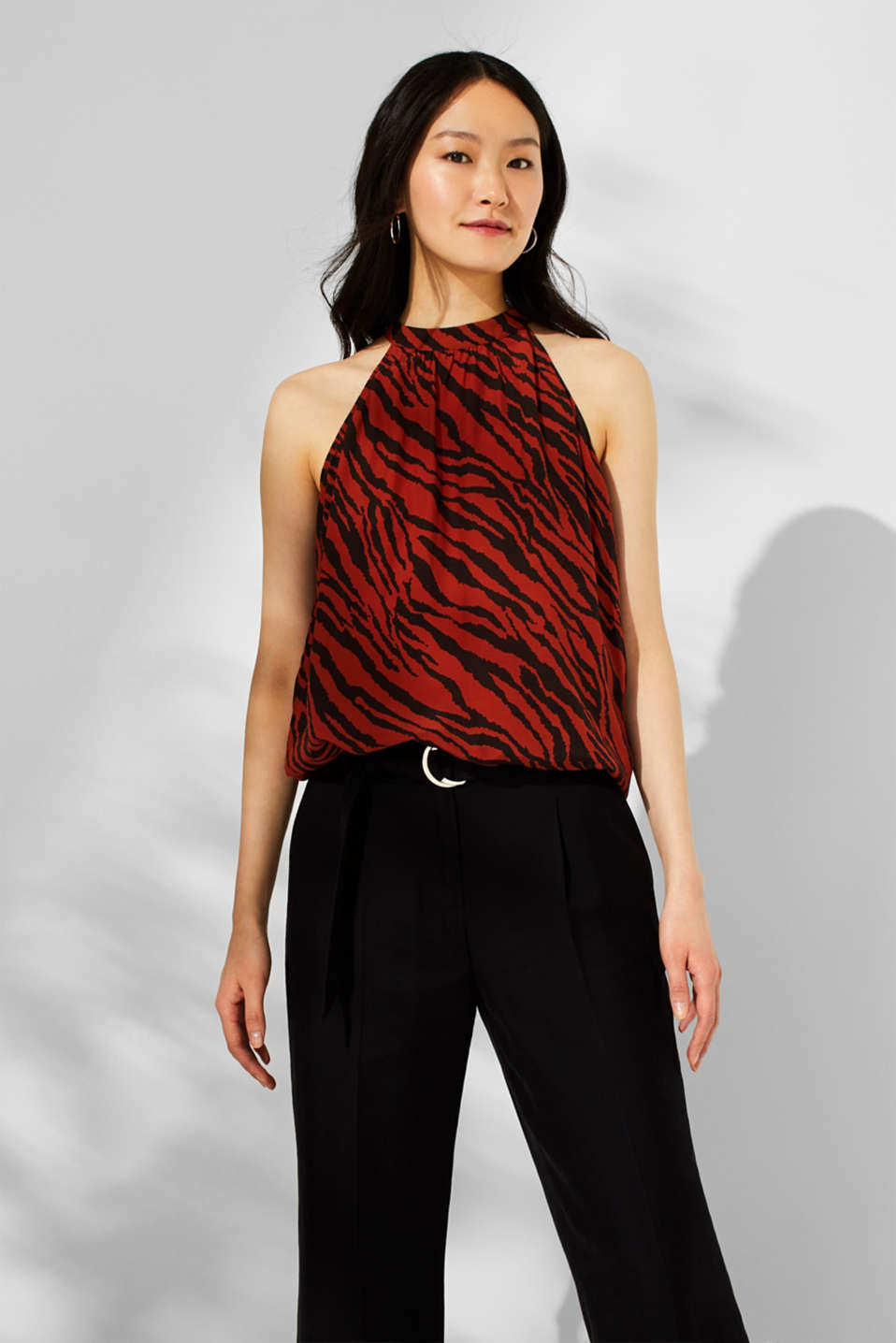 Esprit - Printed blouse top with cut-away shoulders
