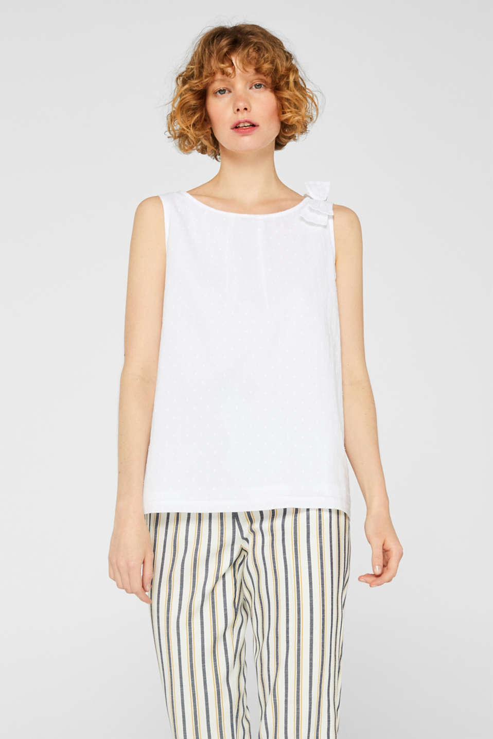 Esprit - Blouse top with polka dots and a bow, 100% cotton