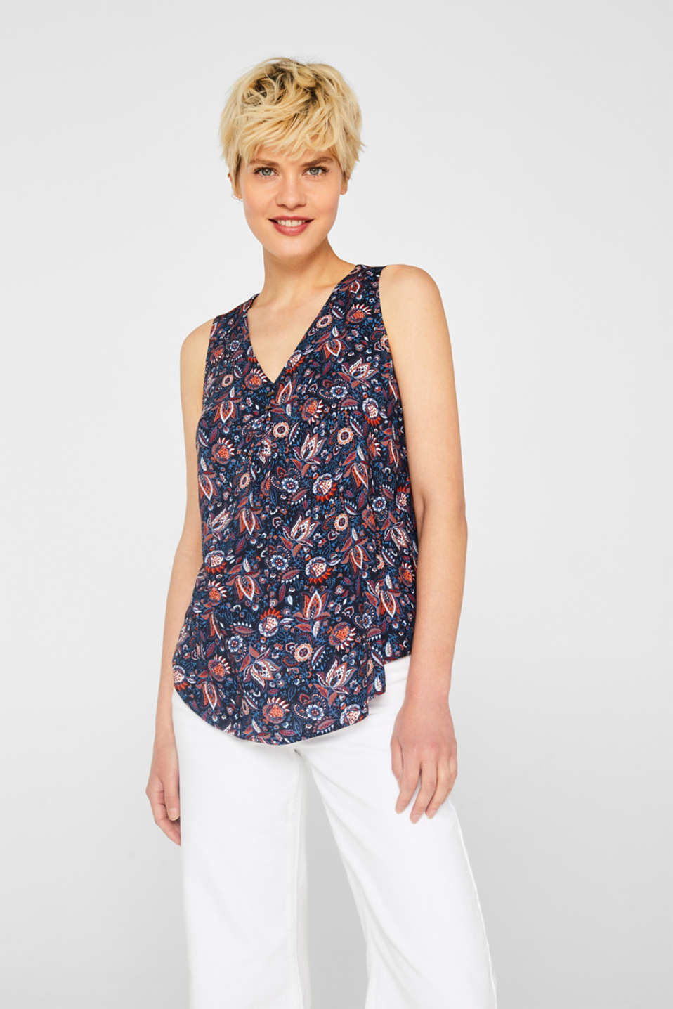 Esprit - Blouse top with a flower and paisley print