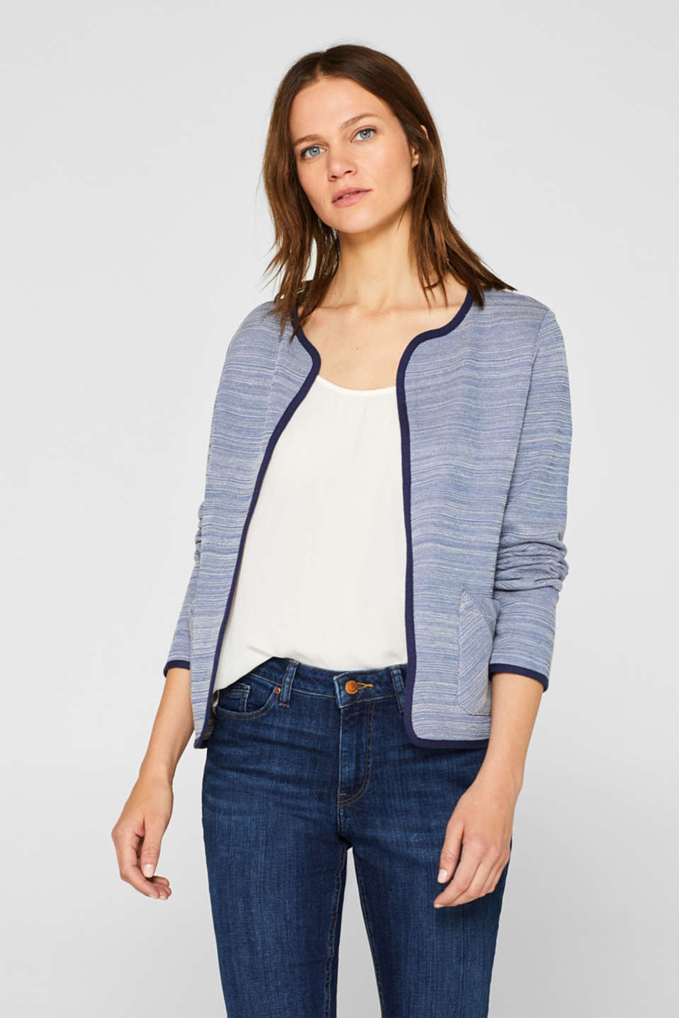 Esprit - Kastige Jacke aus Sweat in 2-Tone-Optik