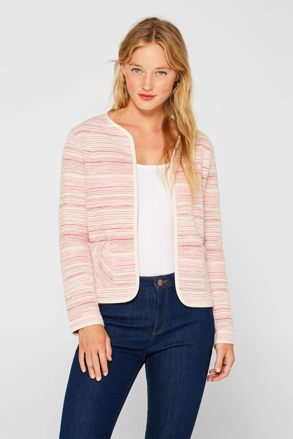 Esprit - Boxy sweatshirt jacket in a two-tone look