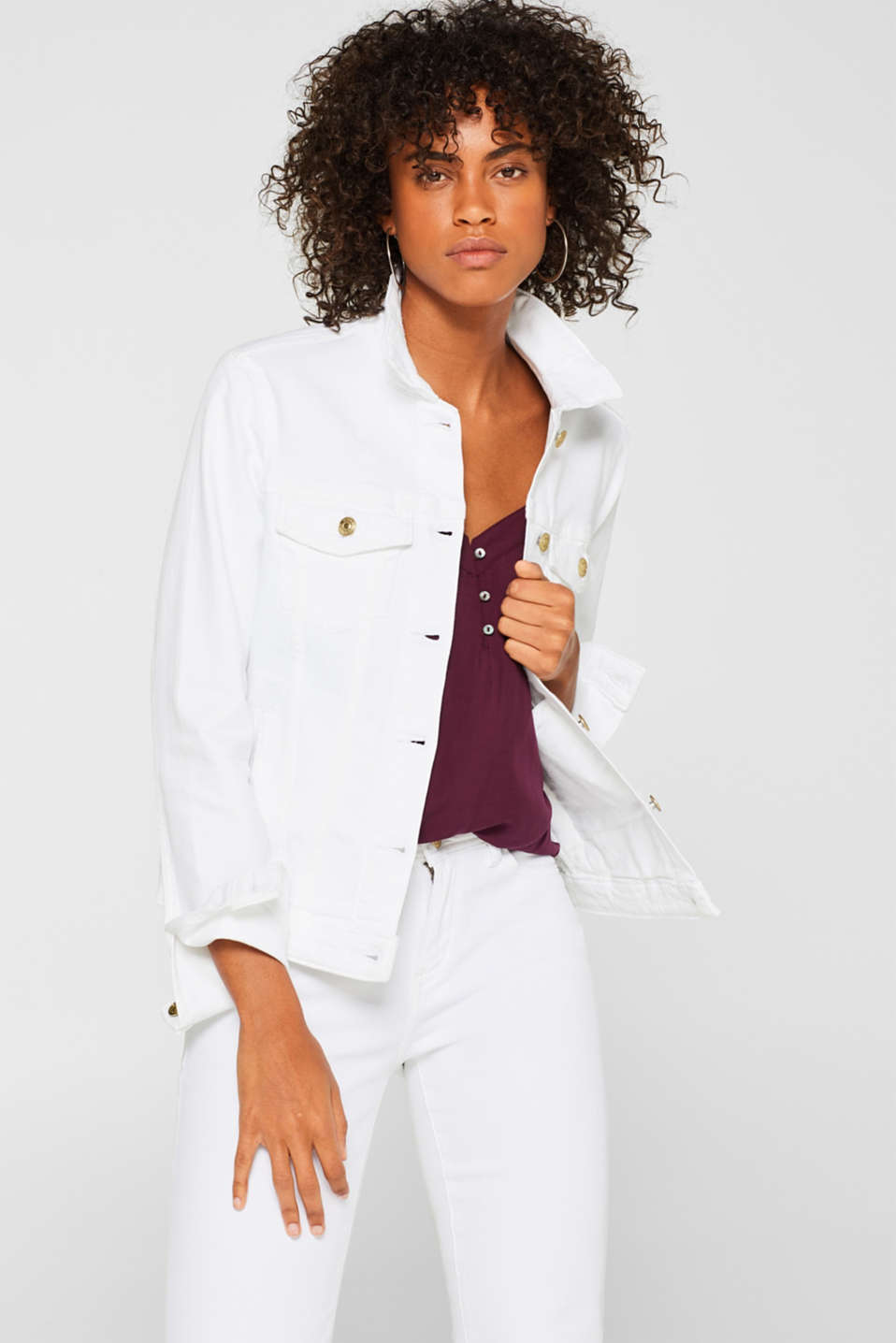Esprit - White stretch denim jacket with organic cotton