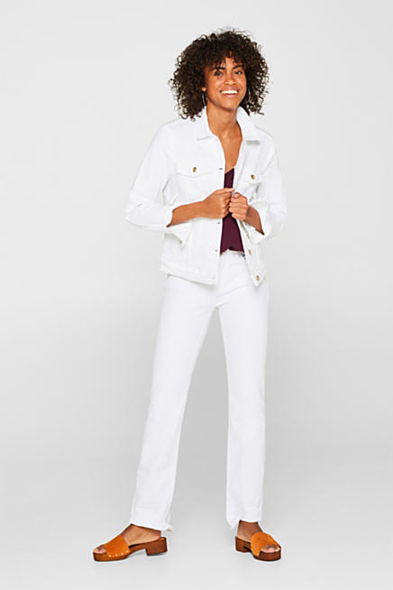 9636f97cfa8 White stretch denim jacket with organic cotton