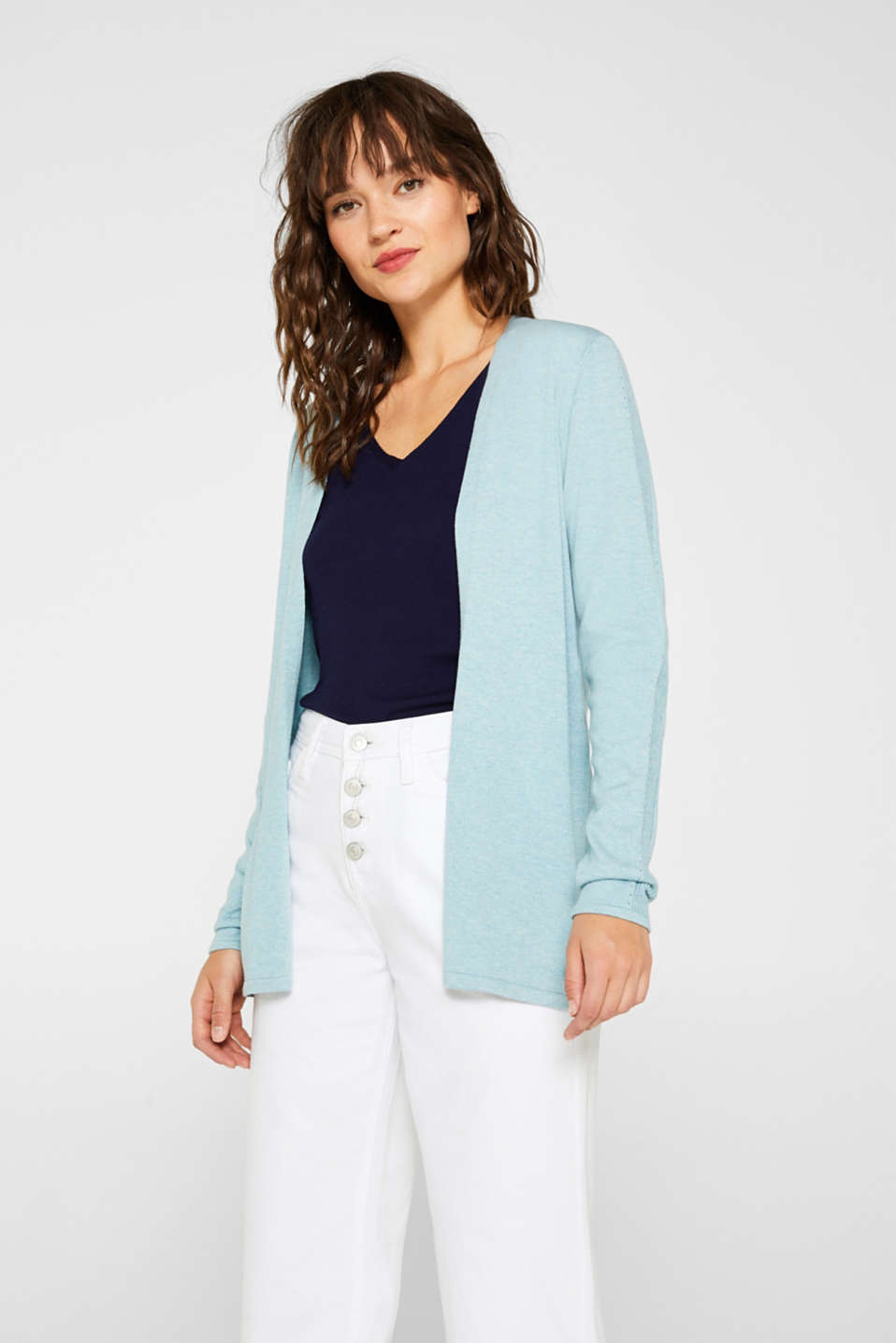 Esprit - Open knit cardigan with organic cotton