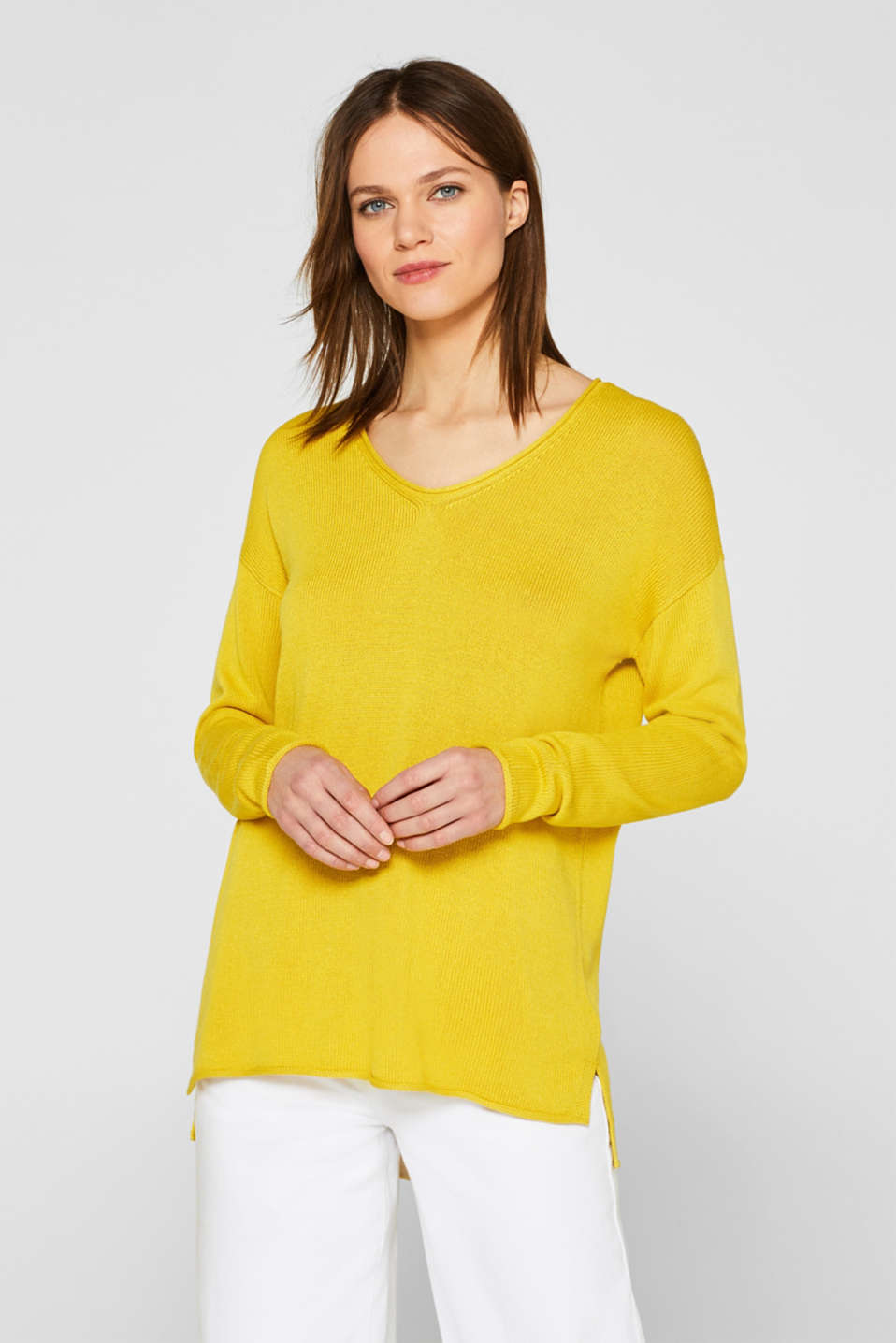 With linen: casual V-neck jumper