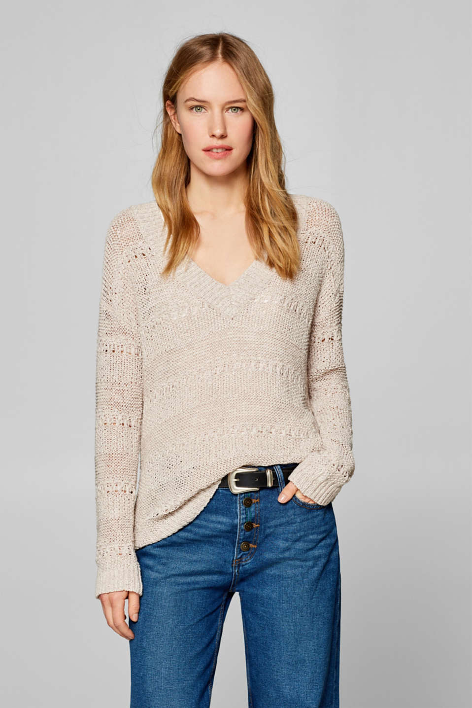 Esprit - Jumper with an openwork pattern in ribbon yarn