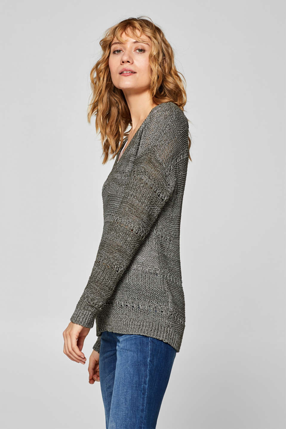 Sweaters, DARK KHAKI, detail image number 5