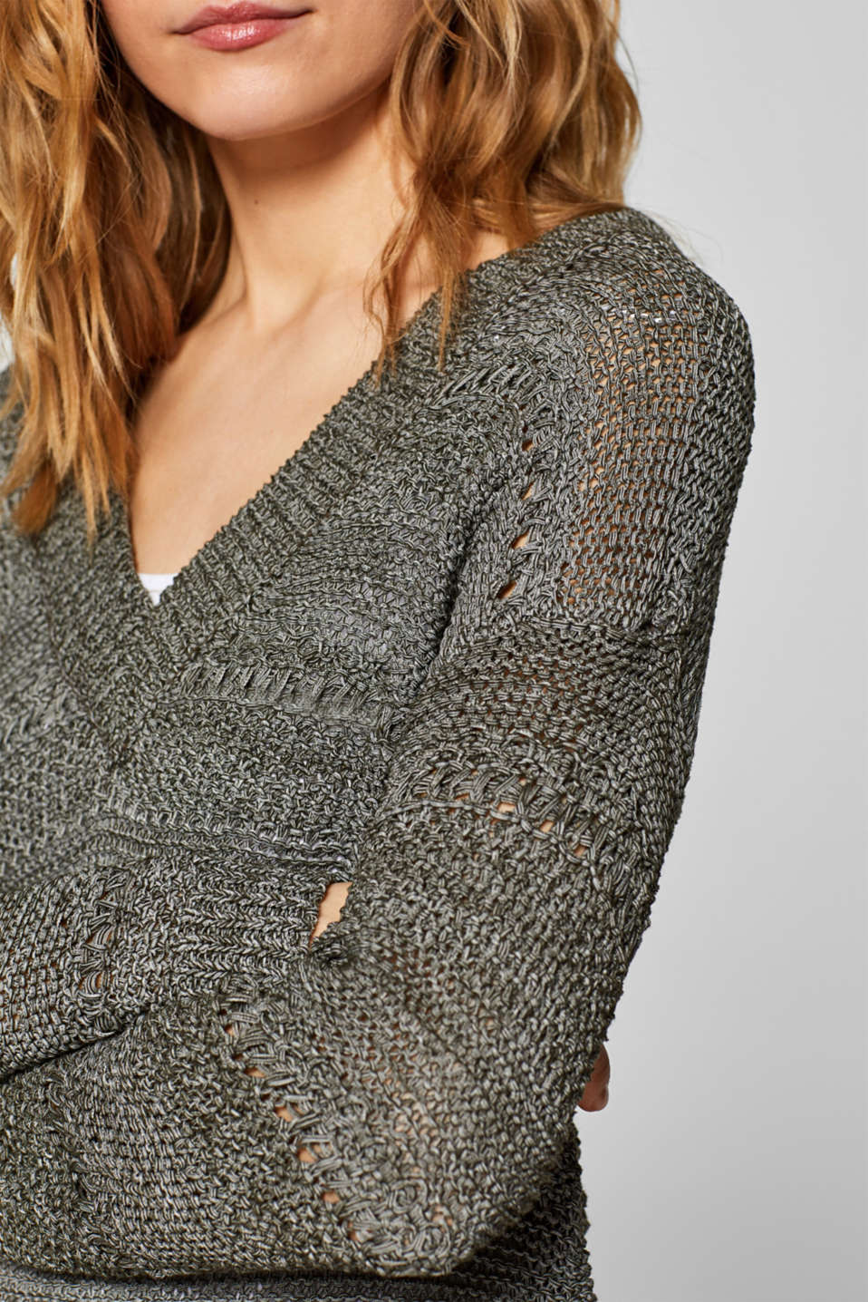 Sweaters, DARK KHAKI, detail image number 2
