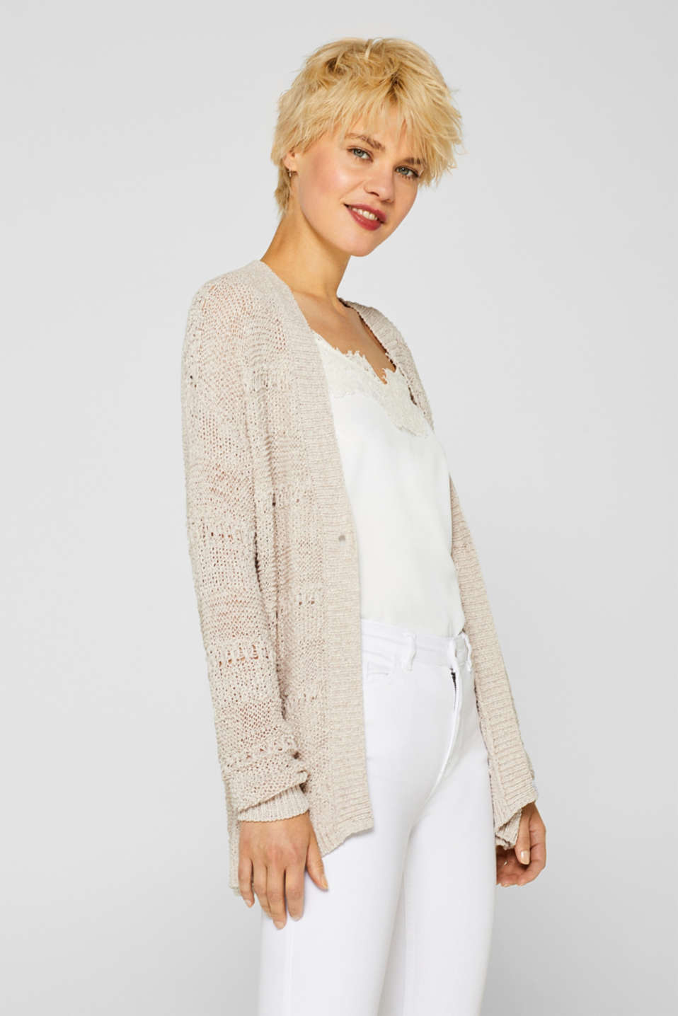 Esprit - Cardigan in ribbon yarn with an openwork pattern