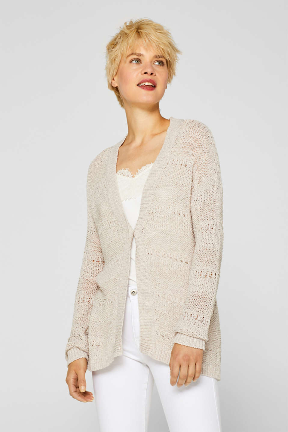 Sweaters cardigan, LIGHT BEIGE, detail image number 6