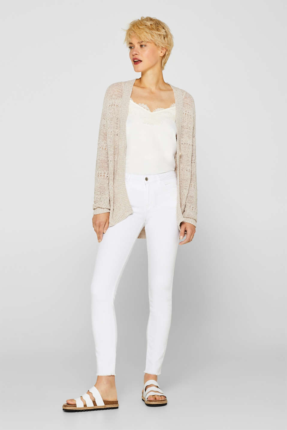 Sweaters cardigan, LIGHT BEIGE, detail image number 1