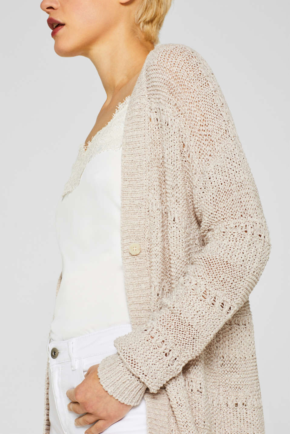 Sweaters cardigan, LIGHT BEIGE, detail image number 2