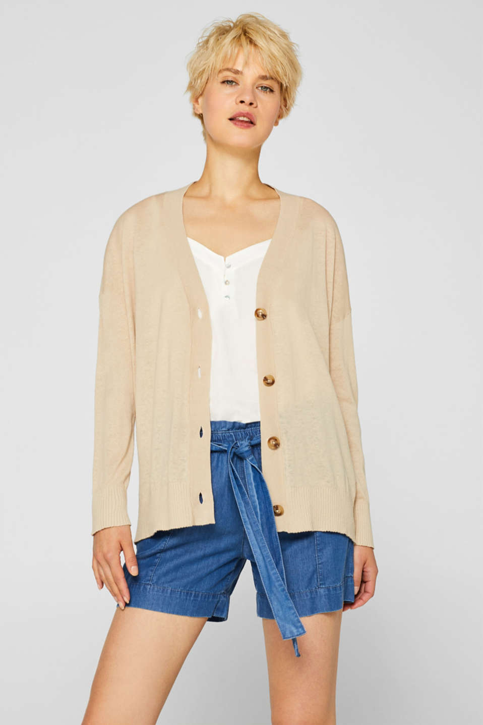 Esprit - Made of blended linen: Delicately knit cardigan