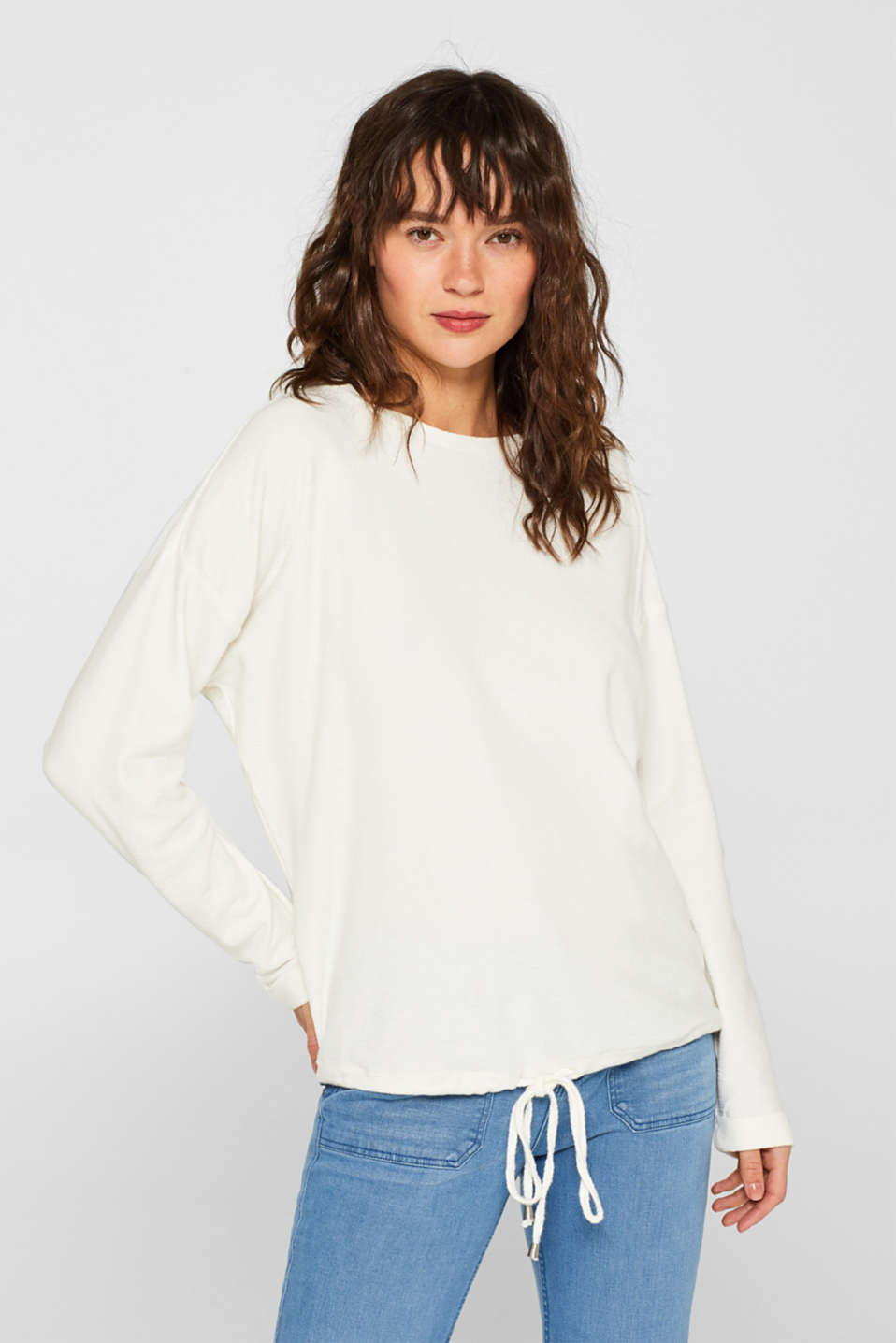 Esprit - Long sleeve top with a drawstring, 100% cotton