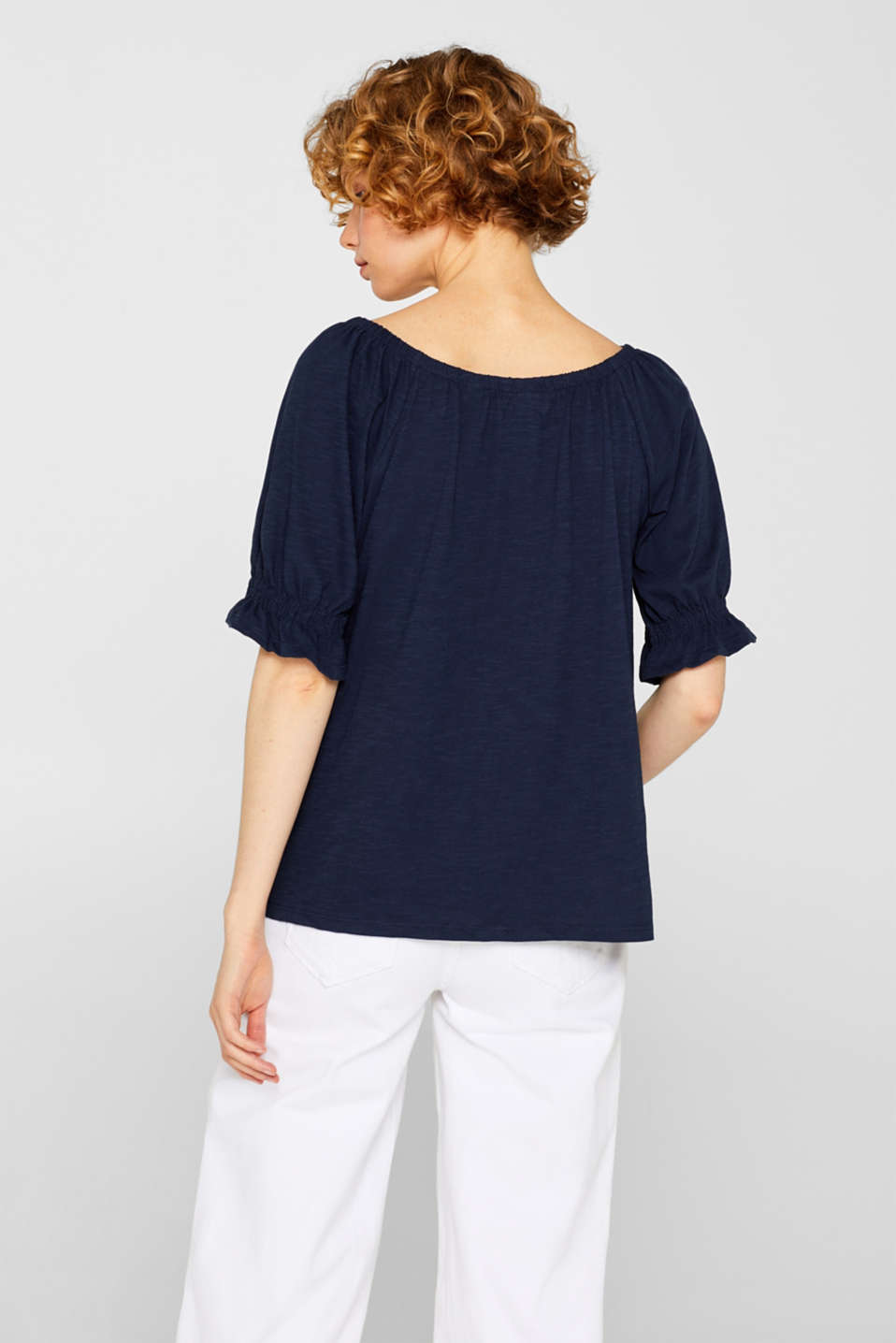 Carmen top with organic cotton, 100% cotton, NAVY, detail image number 3