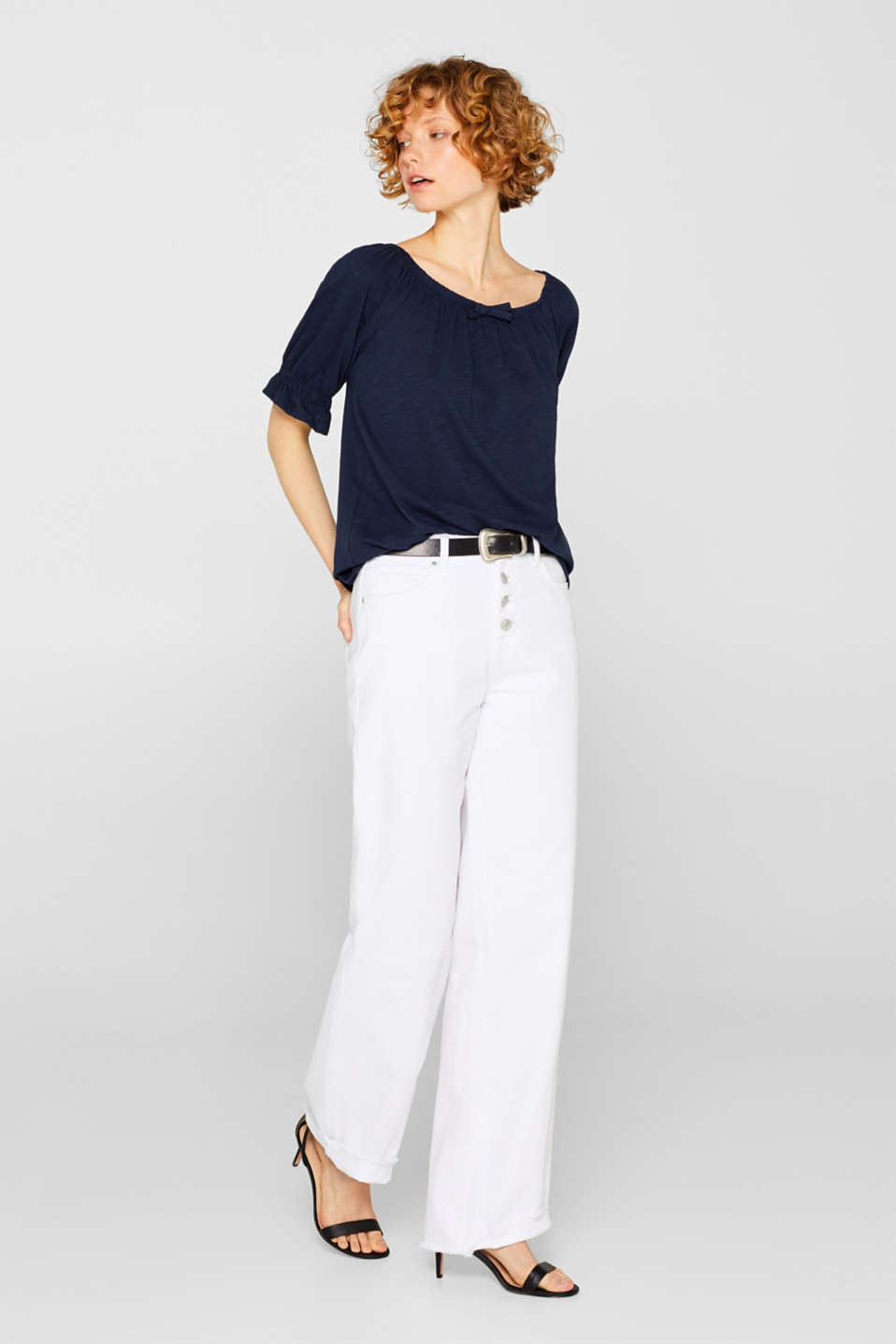Carmen top with organic cotton, 100% cotton, NAVY, detail image number 1