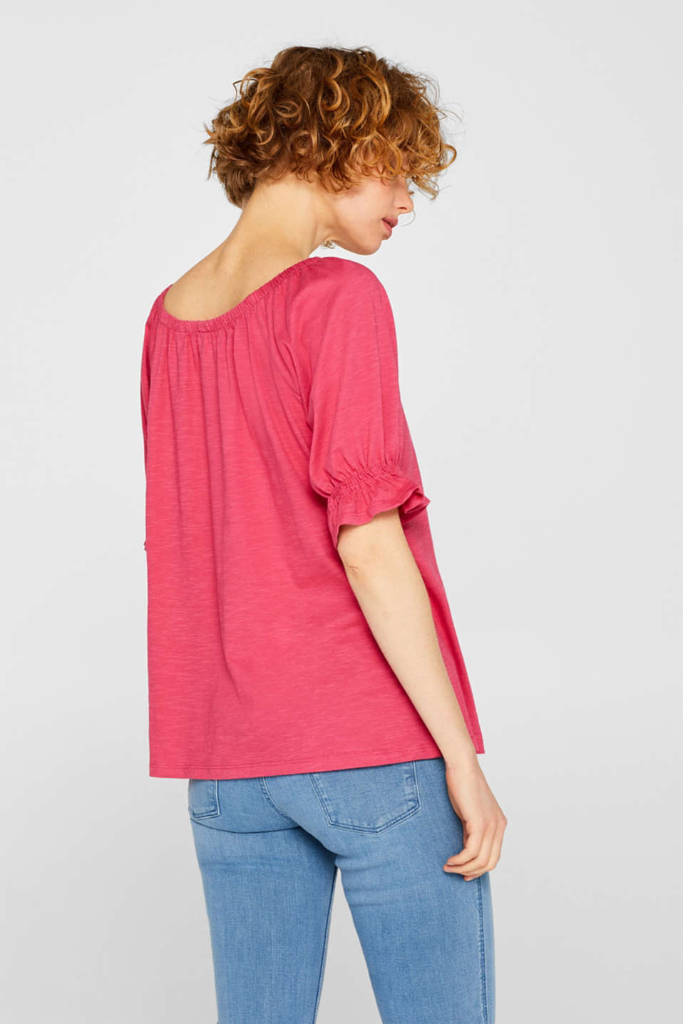 Carmen top with organic cotton, 100% cotton, PINK FUCHSIA, detail image number 3