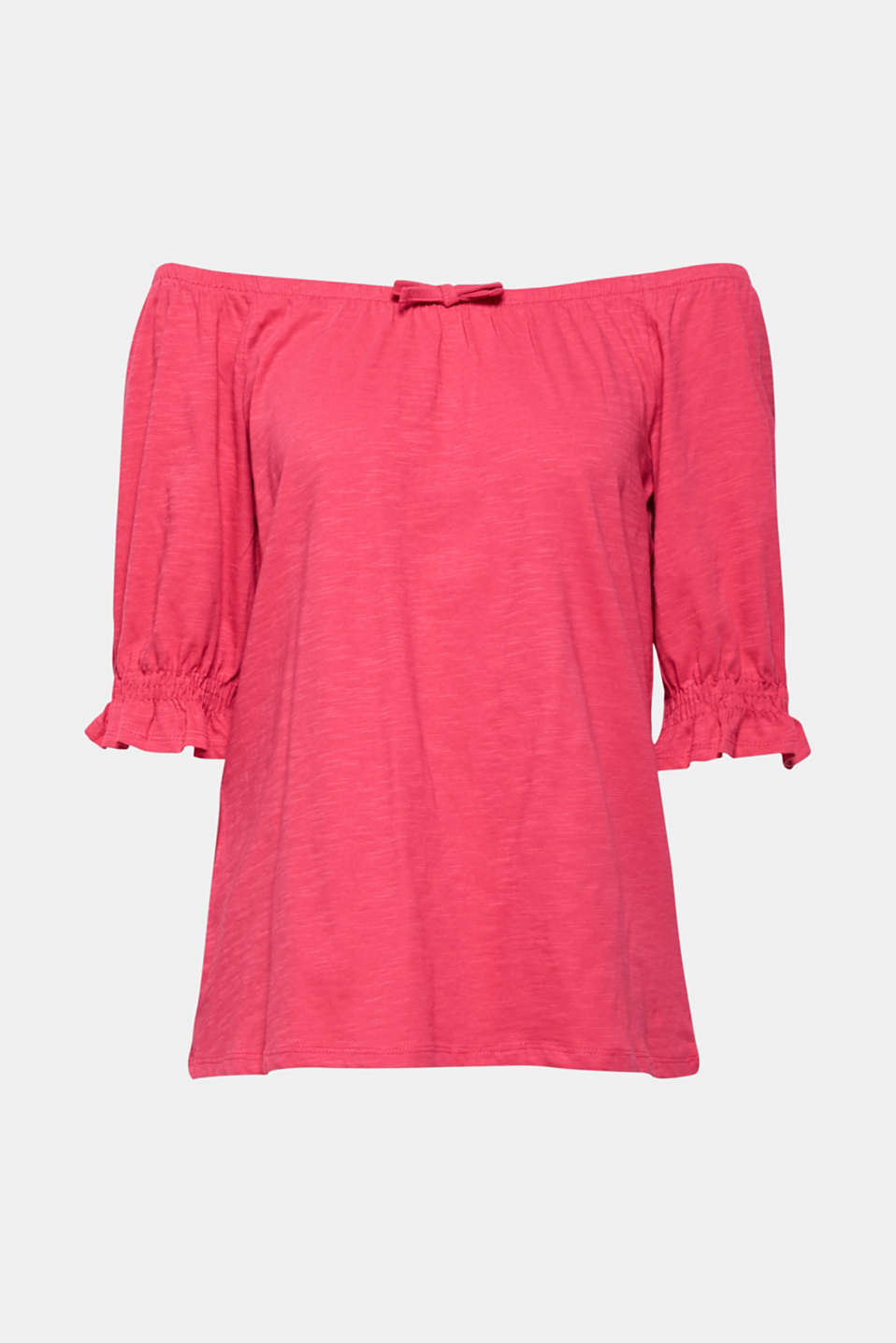 Carmen top with organic cotton, 100% cotton, PINK FUCHSIA, detail image number 6