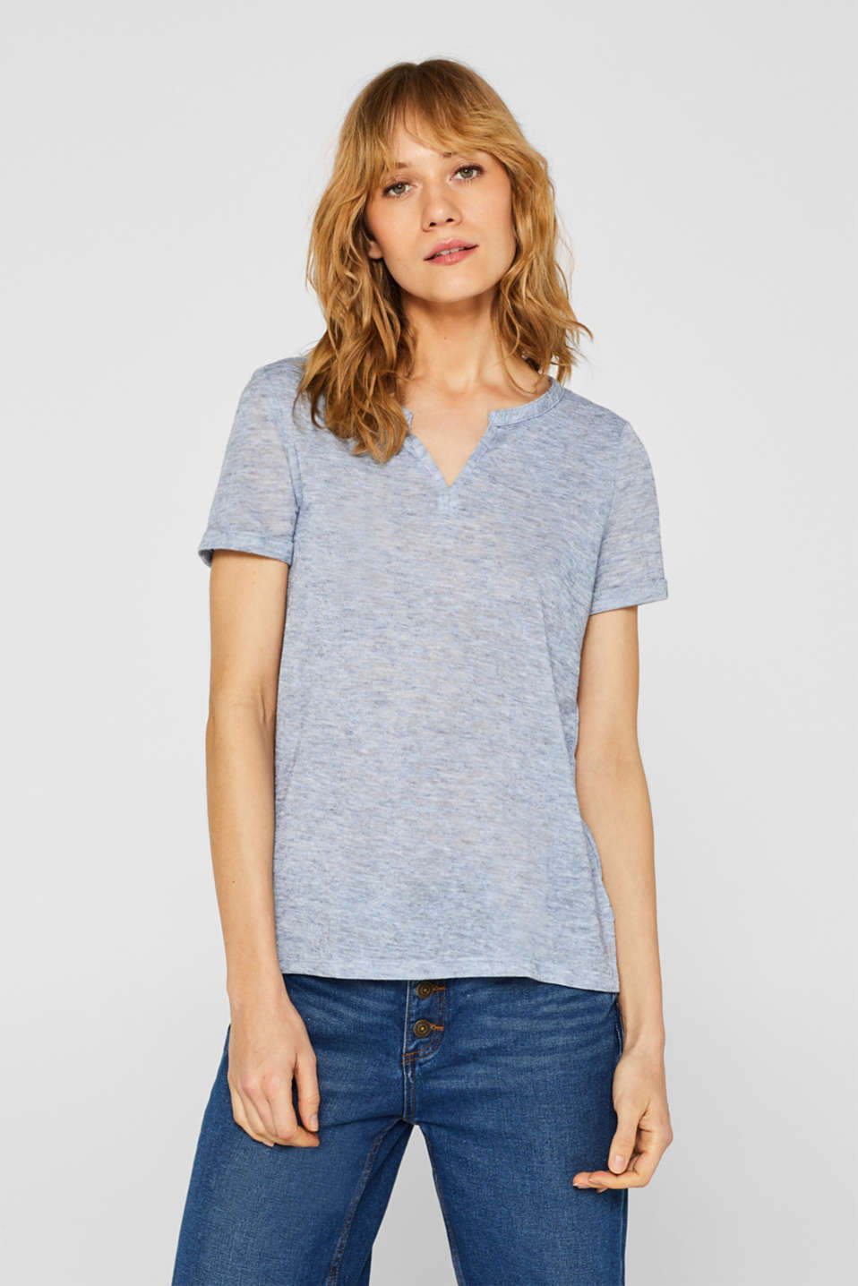 Esprit - Henley top in a fashionable melange finish