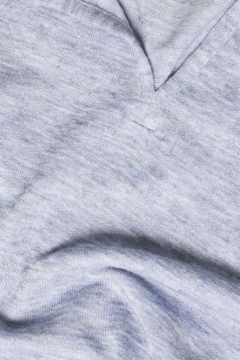Henley top in a fashionable melange finish, PASTEL BLUE, detail