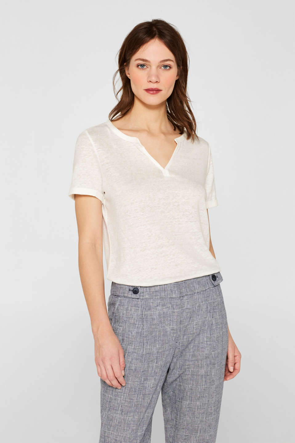 Esprit - 100% Leinen: Henley-Shirt mit High-Low-Saum