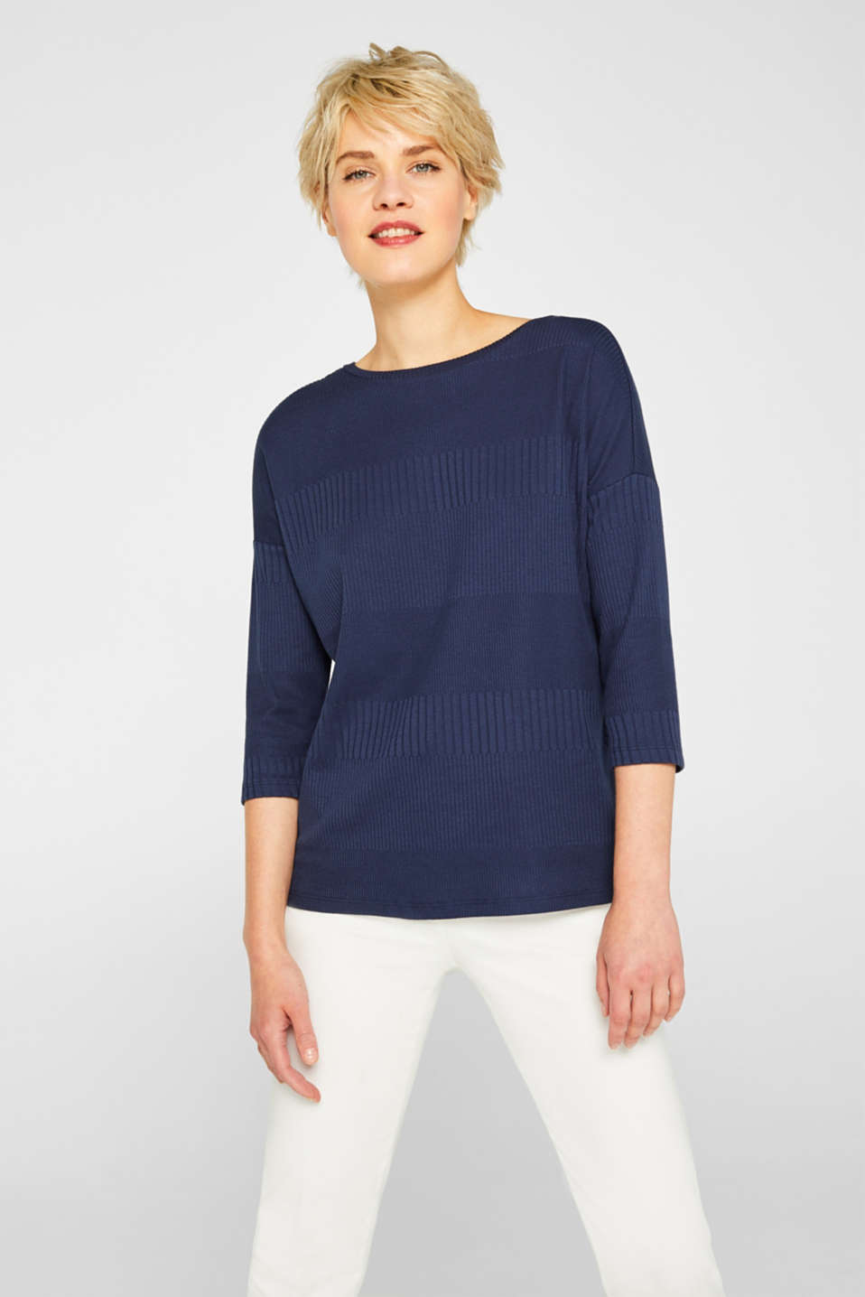 Esprit - Ribbed stretch T-shirt with crossed-over back straps