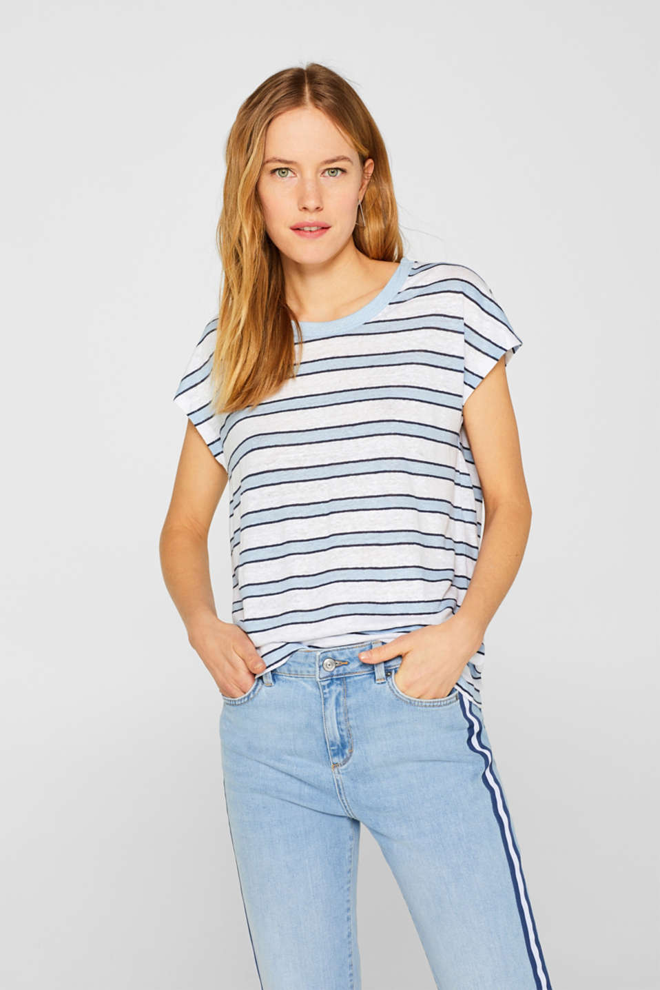 Esprit - 100% linen: Top with stripes