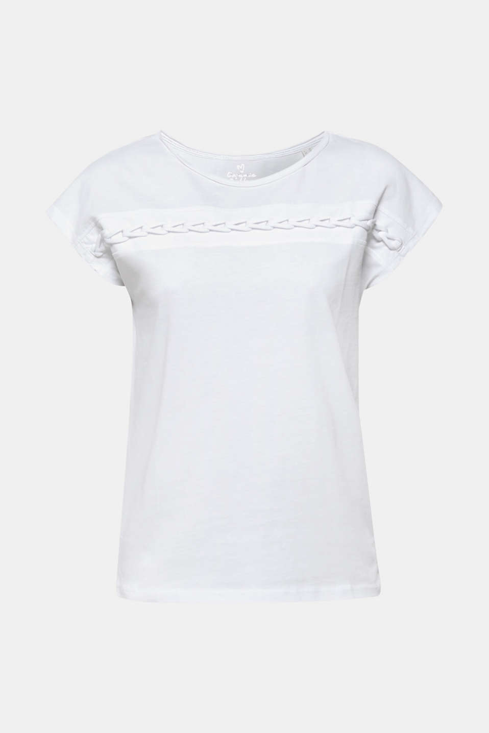 Organic cotton blend tee with a plaited trim, WHITE, detail image number 6