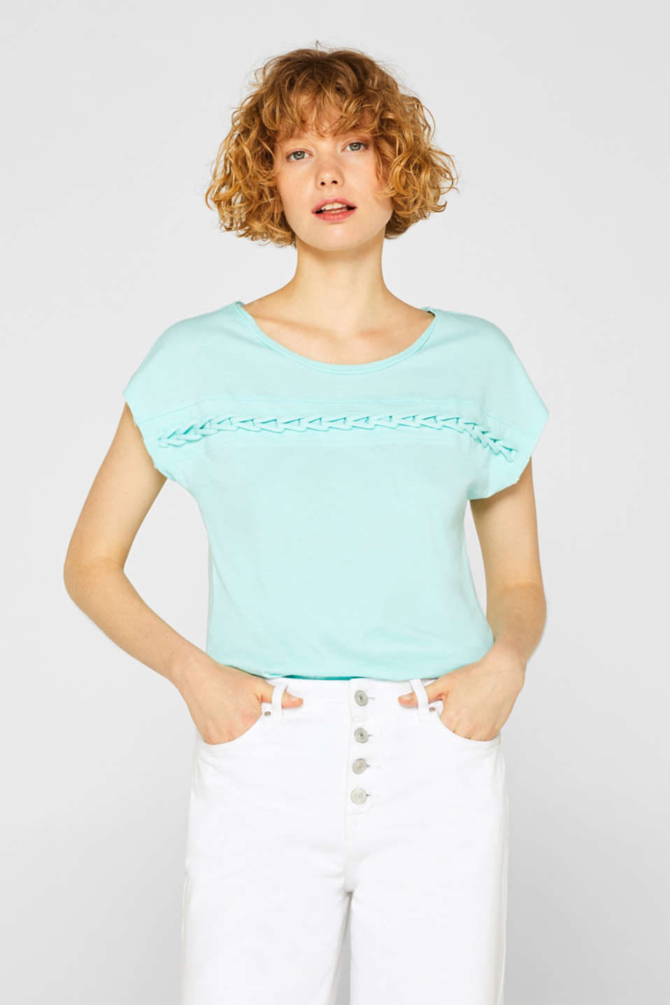 Esprit - Organic cotton blend tee with a plaited trim