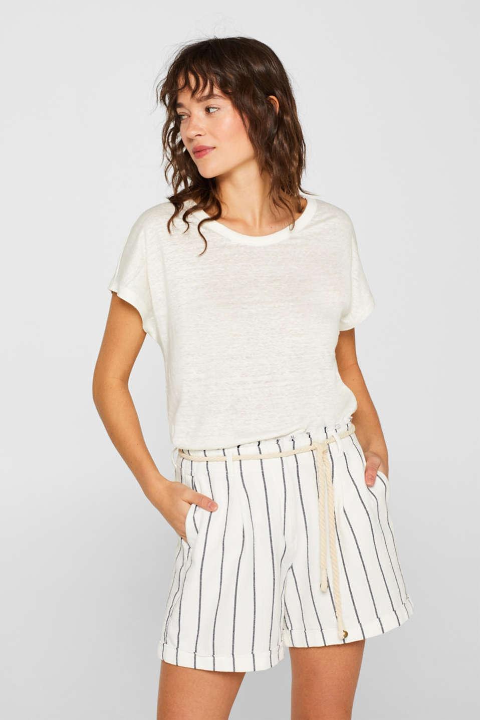 Melange top in 100% linen, WHITE, detail image number 0