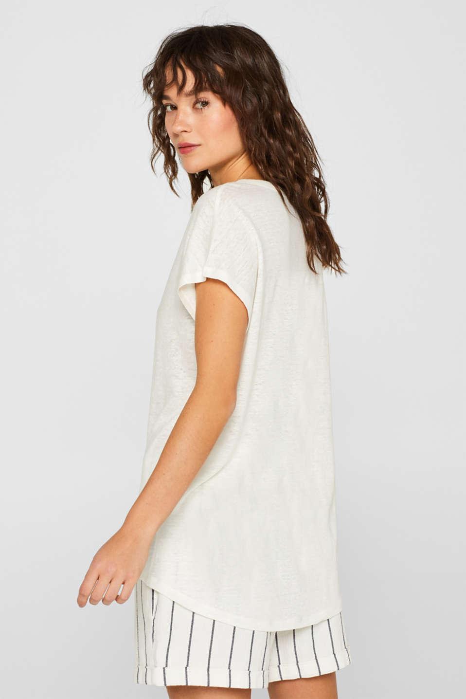 Melange top in 100% linen, WHITE, detail image number 3
