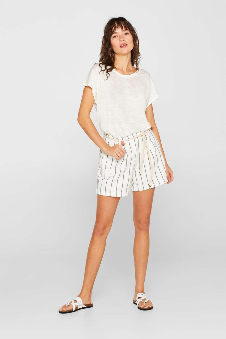 Melange top in 100% linen, WHITE, detail image number 1