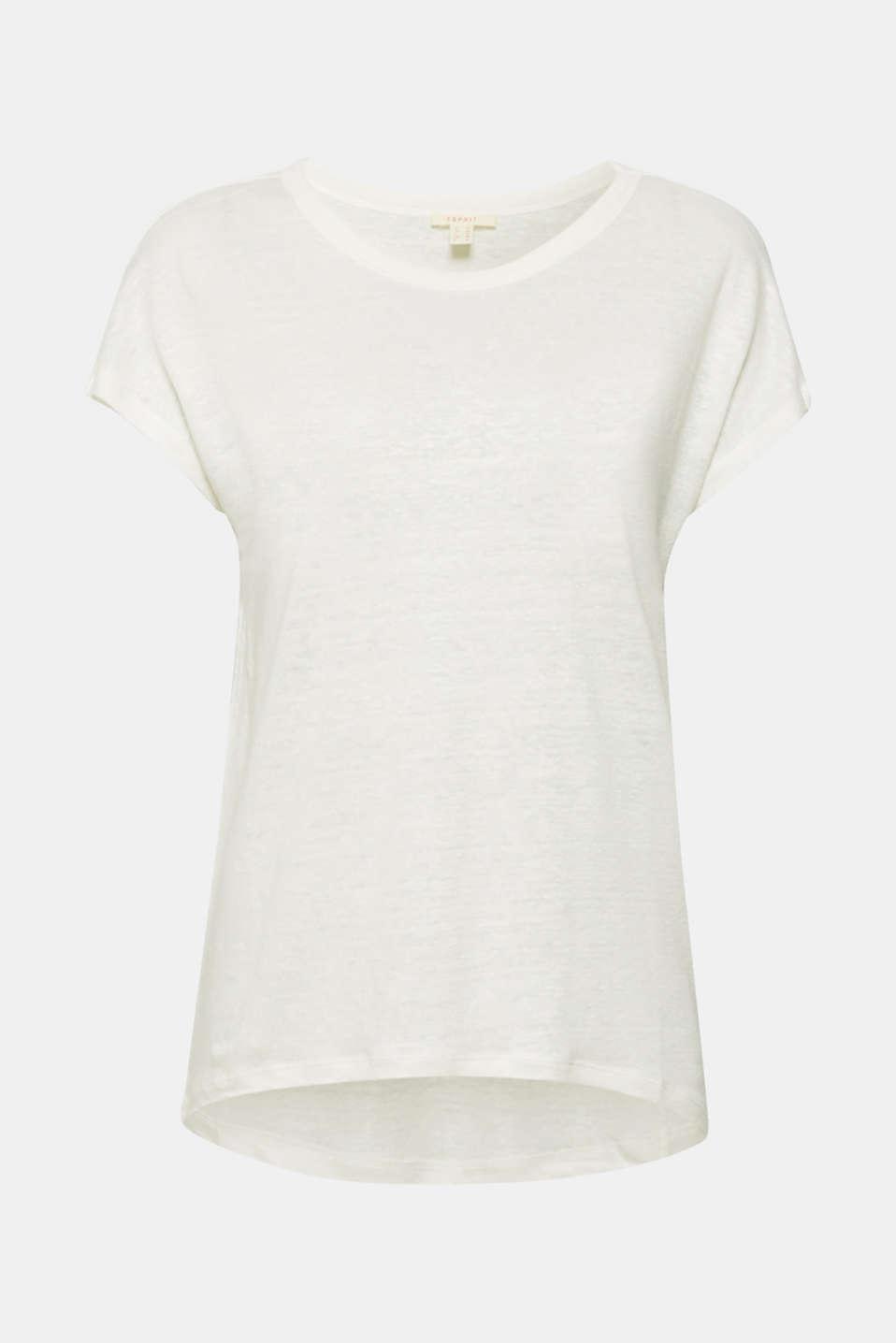 Melange top in 100% linen, WHITE, detail image number 5