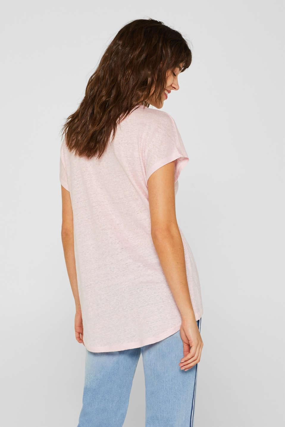 Melange top in 100% linen, PASTEL PINK 4, detail image number 3