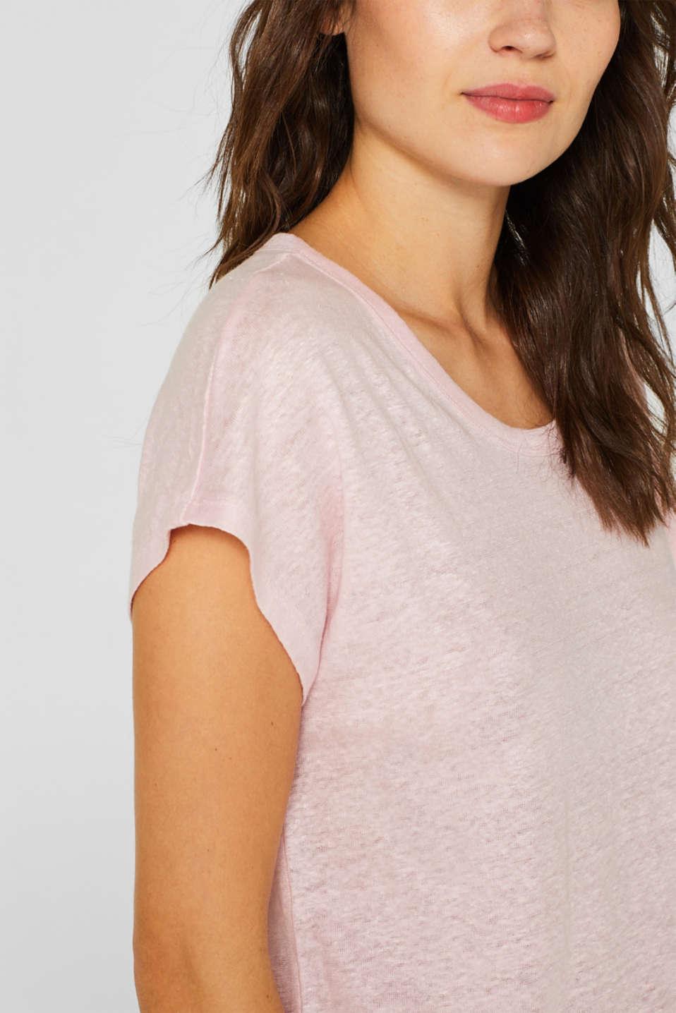 Melange top in 100% linen, PASTEL PINK 4, detail image number 2