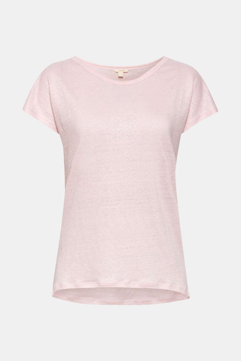 Melange top in 100% linen, PASTEL PINK 4, detail image number 5