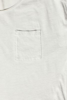 T-shirt in blended fabric with a breast pocket, LIGHT GREY, detail