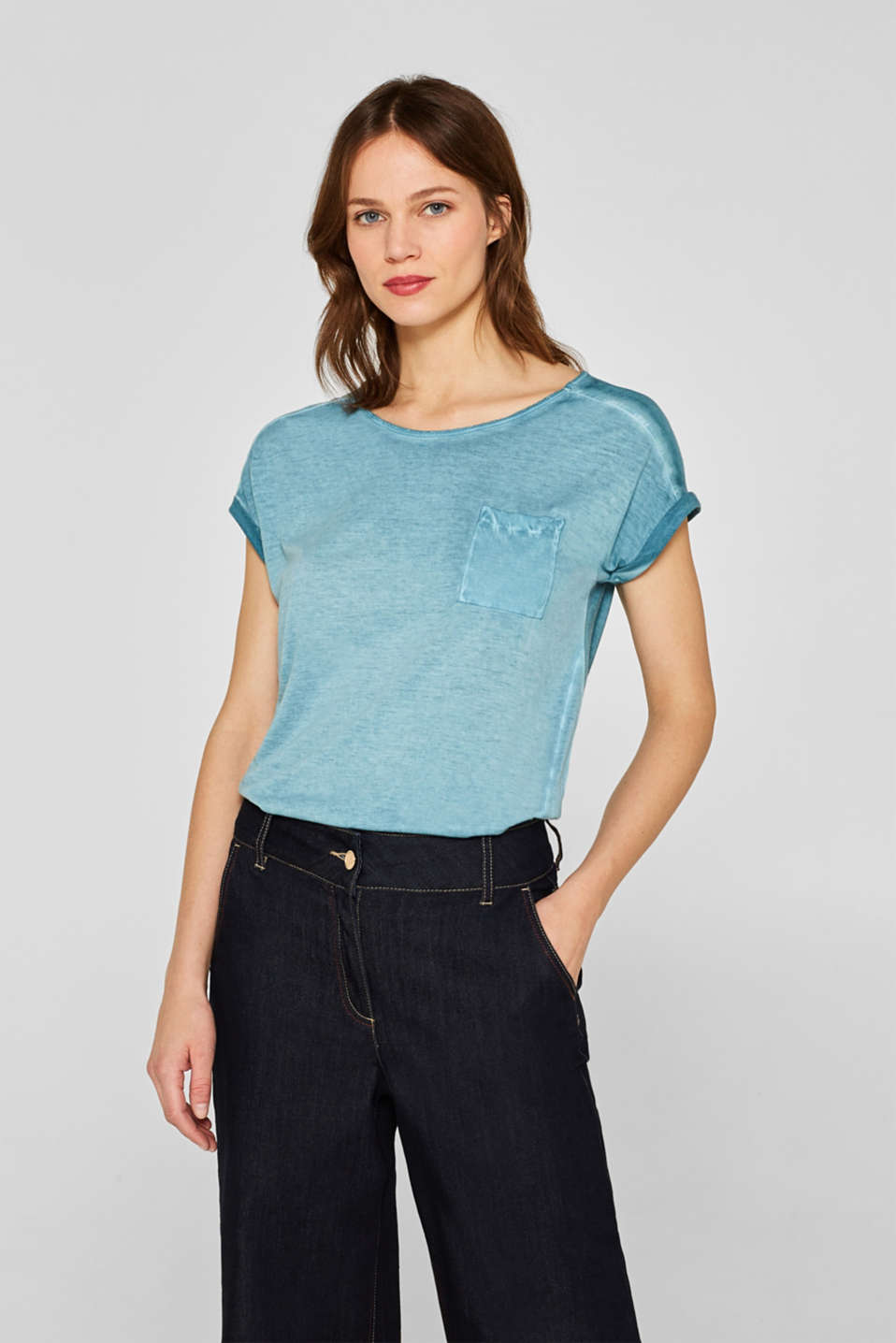 T-shirt in blended fabric with a breast pocket, TEAL BLUE 4, detail image number 0