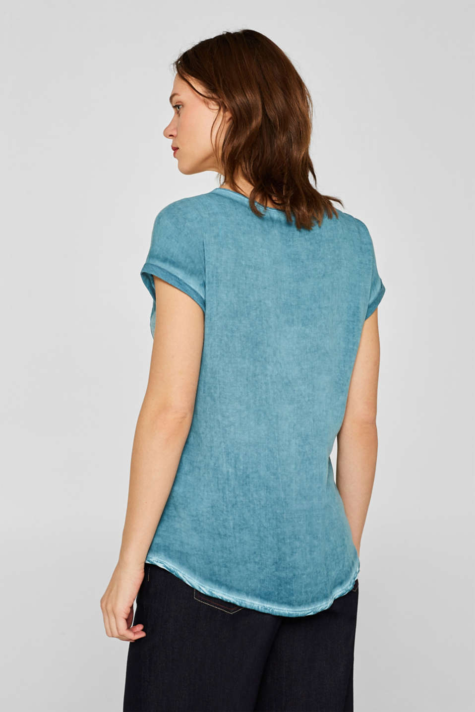 T-shirt in blended fabric with a breast pocket, TEAL BLUE 4, detail image number 3