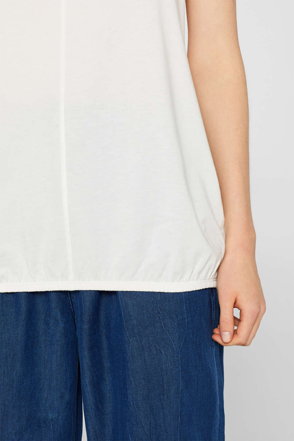 Jersey strappy top with an elasticated hem, OFF WHITE, detail image number 5