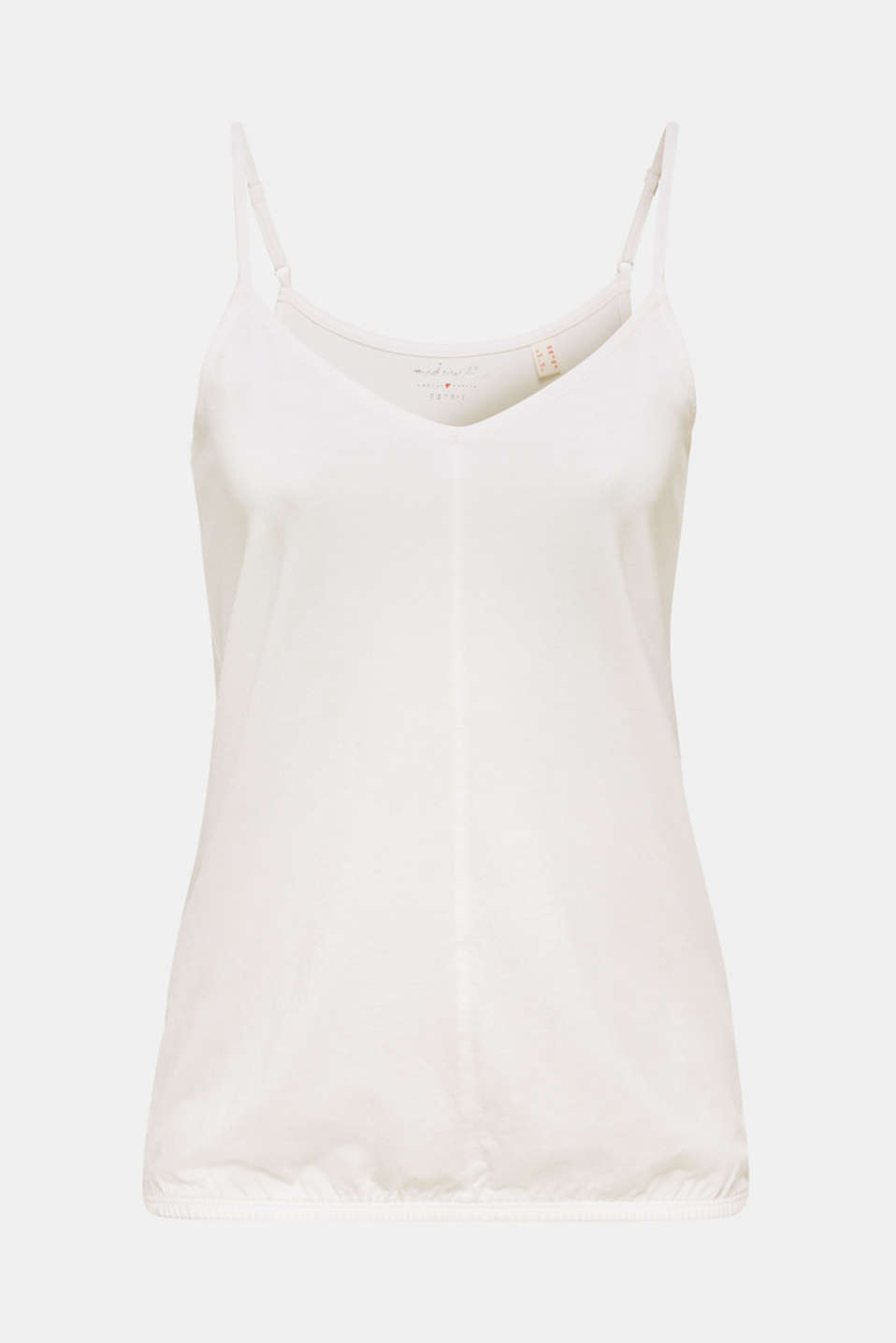 Jersey strappy top with an elasticated hem, OFF WHITE, detail image number 6